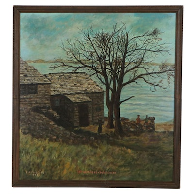 """L.M. Phillips Oil Painting """"Top Withens - Yorkshire,"""" 1975"""