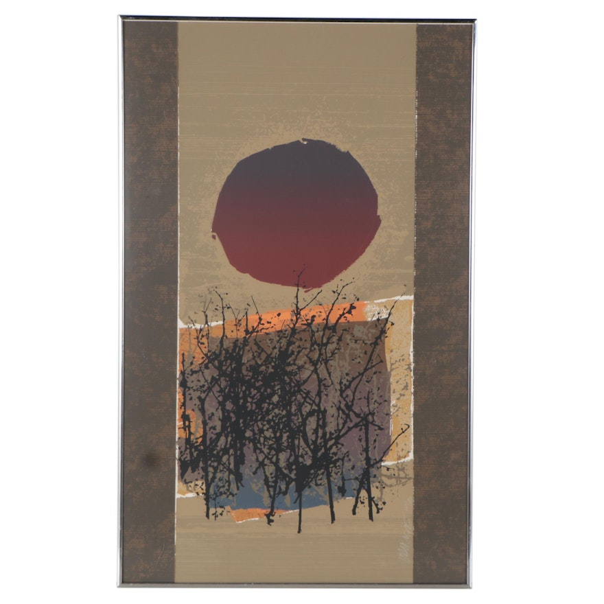 Max Hayslette Abstract Serigraph, Mid-20th Century