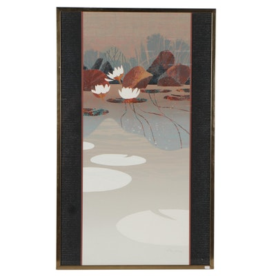 Ron Jones Embossed Serigraph of Lotus Flowers, Late 20th Century
