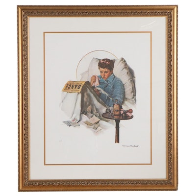 """Offset Lithograph After Norman Rockwell """"Missing the Dance"""""""