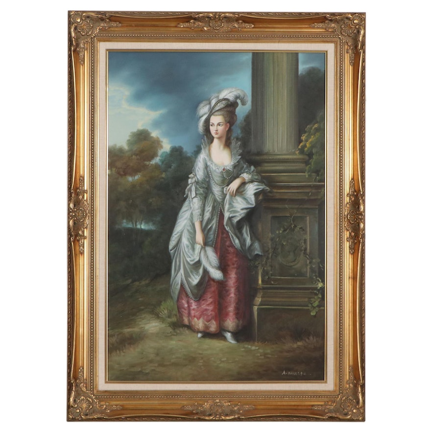 """Oil Painting After Thomas Gainsborough """"Portrait of the Honorable Mrs. Graham"""""""