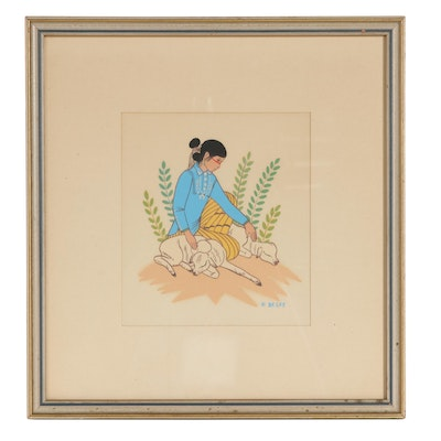 Serigraph After Harrison Begay of Navajo Girl With Sheep, Late 20th Century