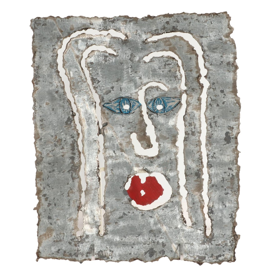 J. Hurley Painted Metal Sculpture of Abstract Portrait, Late 20th Century