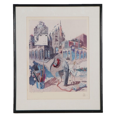"""Yves B. Martin Offset Lithograph """"From NYC to LA and Back"""""""