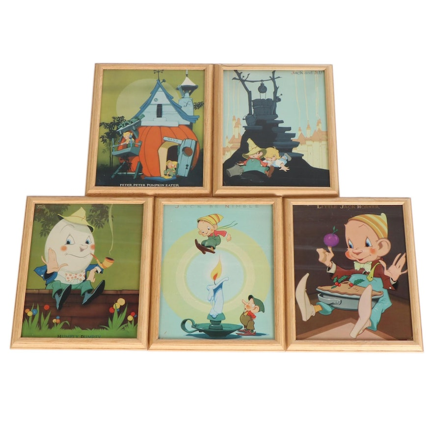 Offset Lithographs of Nursery Rhyme Illustrations