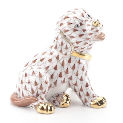 """Herend Chocolate Fishnet with Gold """"Puppy"""" Porcelain Figurine"""