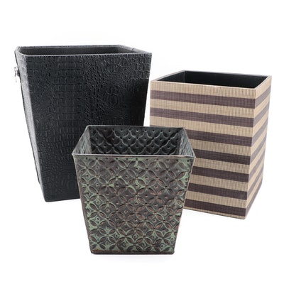 Two's Company and Other Vinyl Waste Baskets with Metal Planter