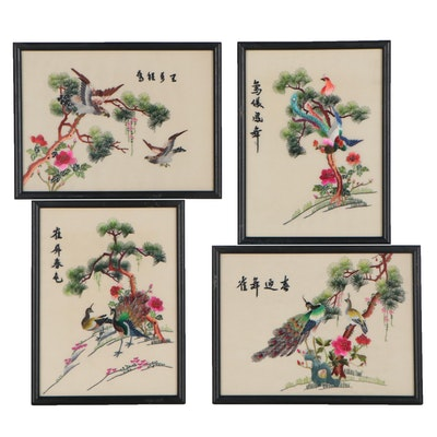 East Asian Silk Embroidery Panel Wall Hangings