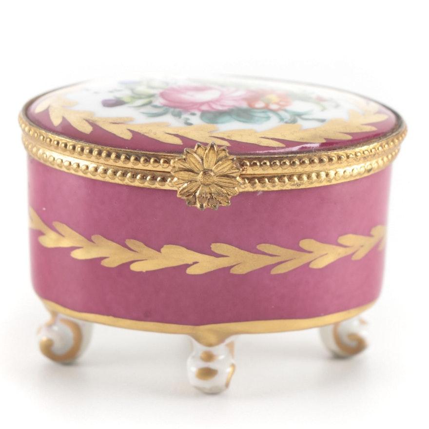 Limoges Rose Motif Porcelain Footed Box