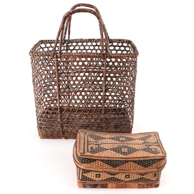 Southeast Asian Flat Woven Bamboo Lidded Basket with Open Weave Handled Basket