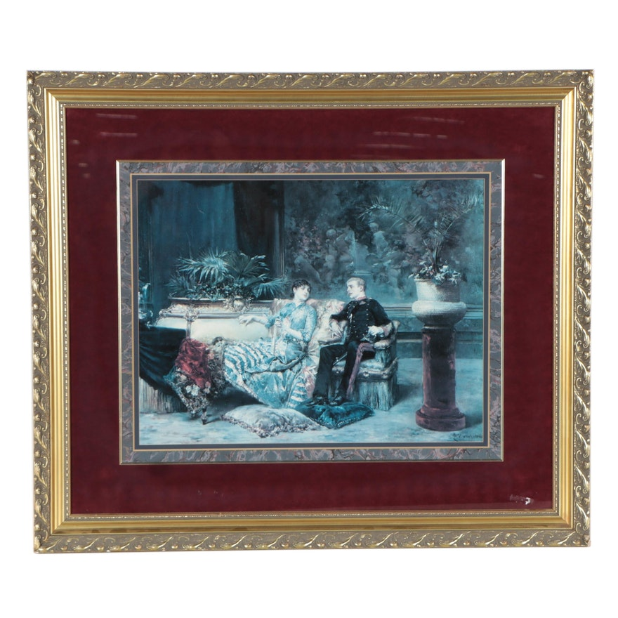 Offset Lithograph of Couple Sitting in Parlour