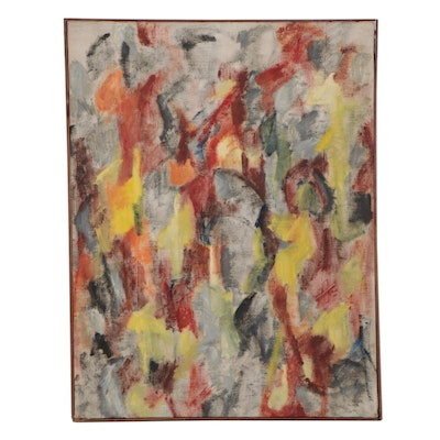 Bernice Fisher Stacy Large-Scale Abstract Oil Painting, Circa 1960