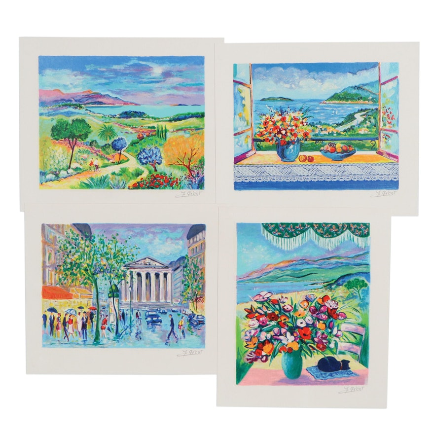 Serigraphs After Jean Claude Picot of Still Lifes and Landscapes, 1997