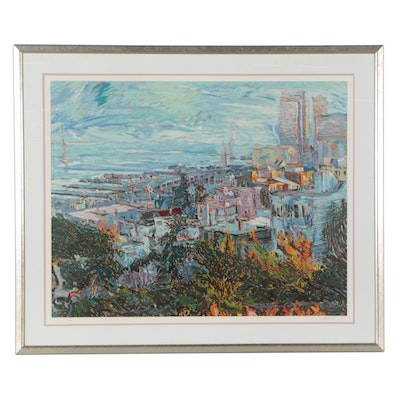 """Marco Sassone Large-Scale Serigraph """"San Francisco from Telegraph Hill"""""""