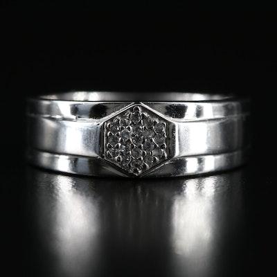 Sterling White Zircon Hexagonal Cluster Ring