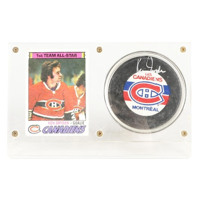 Ken Dryden Signed Montreal Canadiens NHL Hockey Puck with 1978 Topps Card, COA