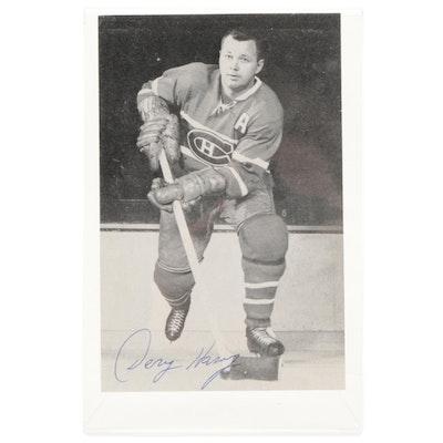 Doug Harvey Signed Montreal Canadians NHL Photo Card, Visual COA
