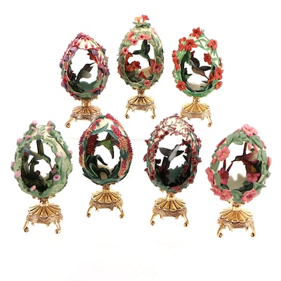 Franklin Mint House of Fabergé Hummingbird Eggs with Stands