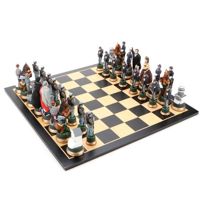 American Civil War North vs South Resin Chess Set with Wooden Board