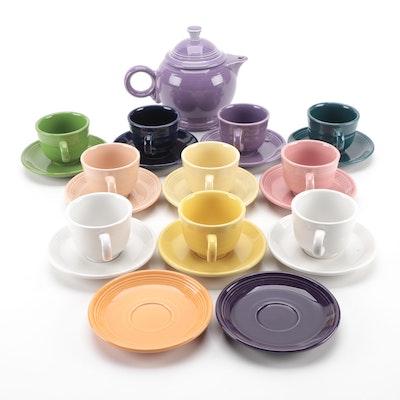 "Homer Laughlin ""Fiesta Ware"" Porcelain Teapot, Cups and Saucers"