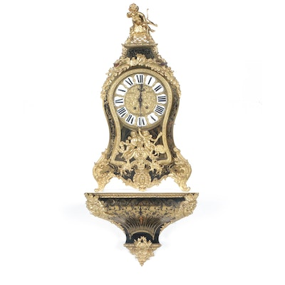 French Louis XVI Style Tortoiseshell and Brass Boulle Marquetry Bracket Clock