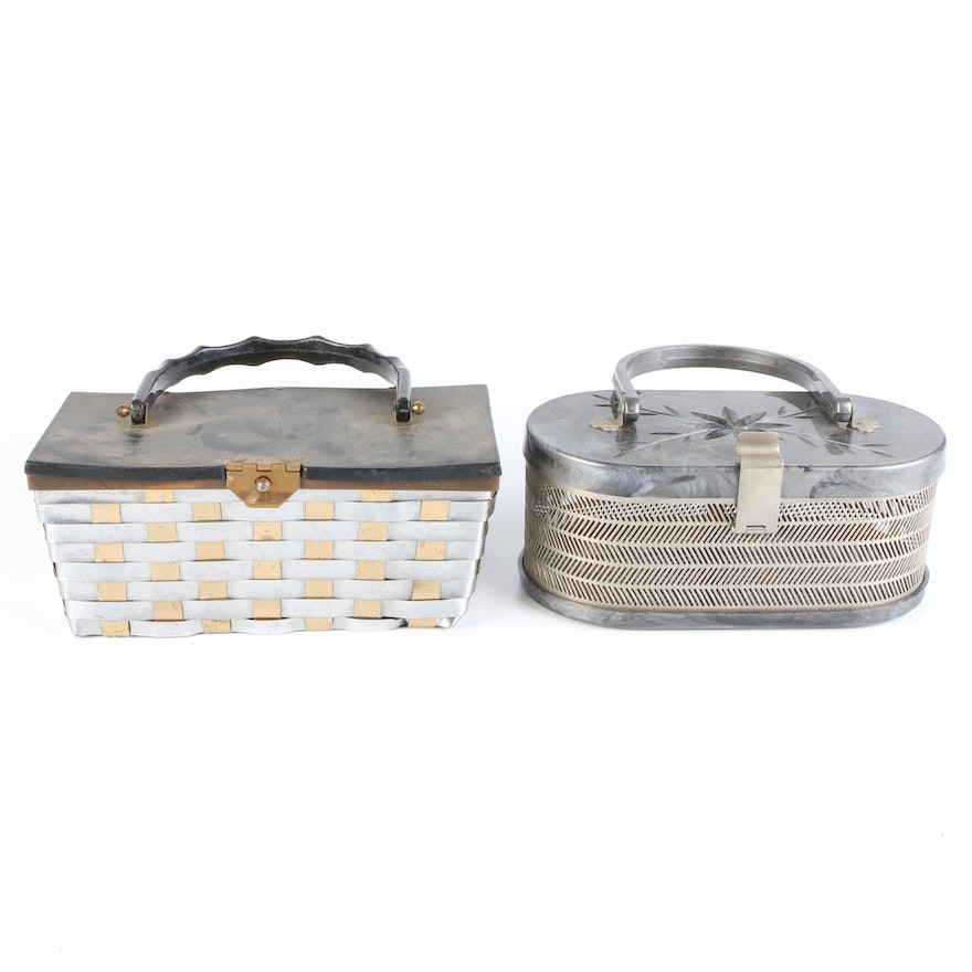 Stylecraft and MW Handbags Metal and Marbleized Acrylic Top Handle Purses
