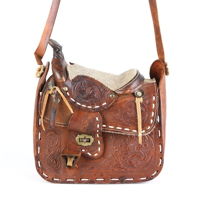Western-Style Messenger Bag in Tooled Leather with Decorative Stitching