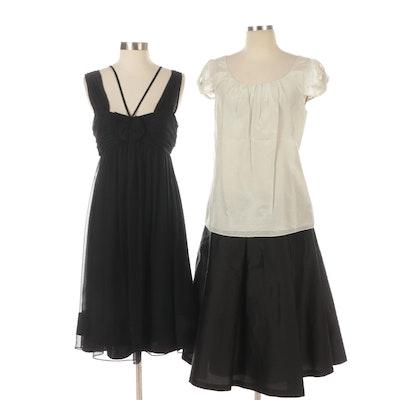 Vera Wang Silk Dress, Sara Campbell Satin Skirt, J. Crew Short Sleeve Top