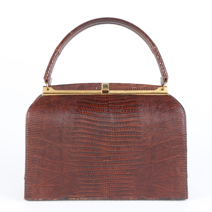 Bellstone Dark Brown Lizard Top Handle Frame Bag