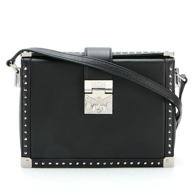MCM Mitte Small Crossbody Box Bag in Embellished Black Leather