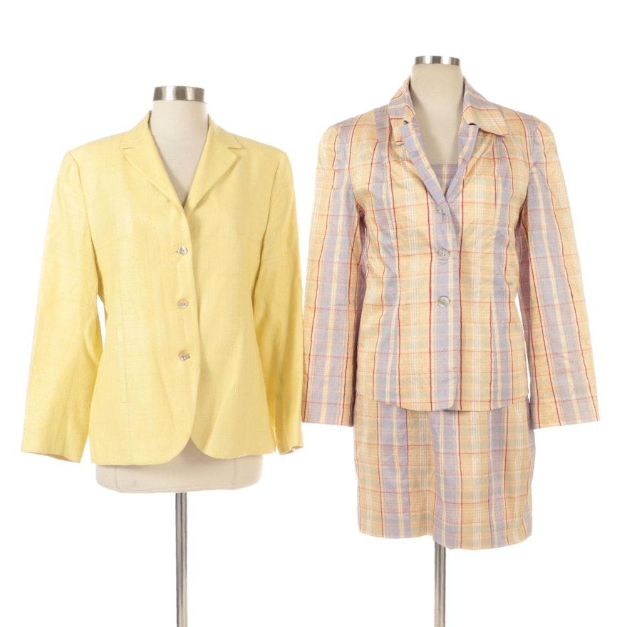 Ann Freedberg Blazer with Magaschoni Apparel Group Plaid Dress Set