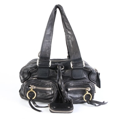 Chloé Betty Satchel in Black Leather with Zip Pouch