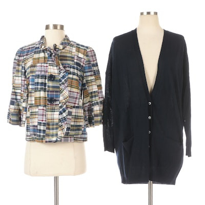 J. Crew Patchwork Ruffled Button-Front Jacket and Cardigan