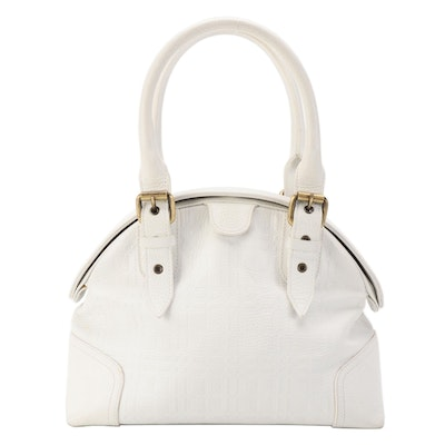 Burberry Belted Dome Satchel Bag in White Check Embossed Leather