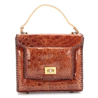 Alligator Flap Front Top Handle Bag
