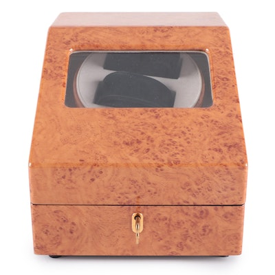 Vollmond High Gloss Burl Wood Finish Dual Watch Winder and Case