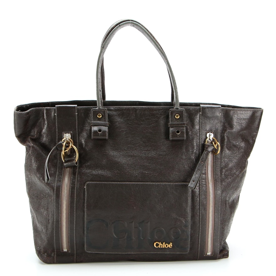 Chloé Eclipse Tote Bag in Dark Brown Coated Leather