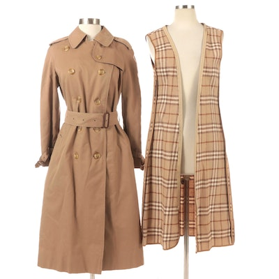 'Burberrys' Double-Breasted Trench Coat with Wool Liner, 1980s