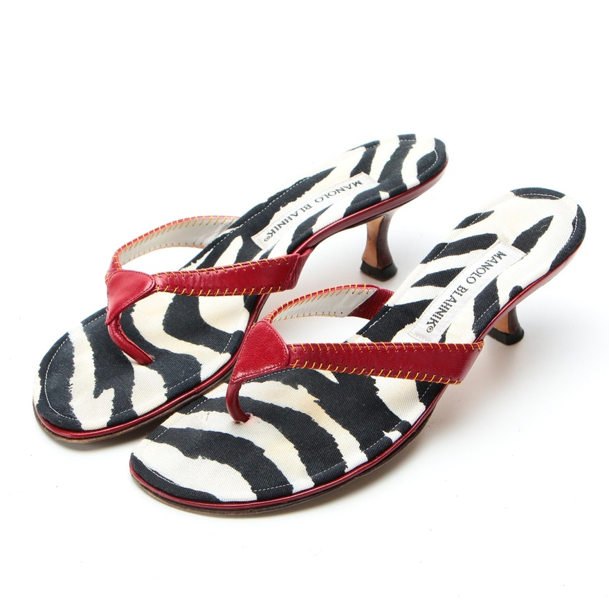 Manolo Blahnik Chahak Sandals in Red Leather and Zebra Print Canvas