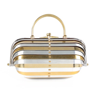 Tambour Style Silver and Gold Tone Metal Box Purse