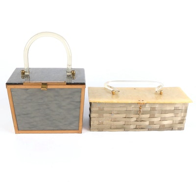Garay Metal Woven Basket and Other Marbleized Acrylic Top Handle Purses
