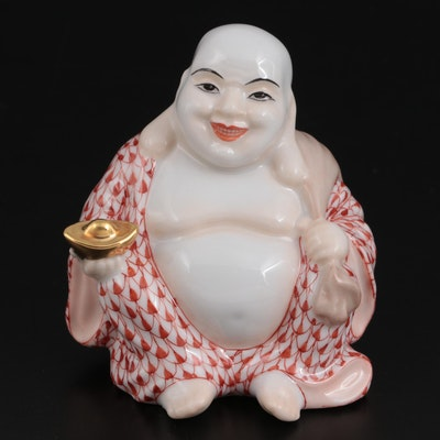 """Herend Rust Fishnet with Gold """"Laughing Buddha"""" Porcelain Figurine"""