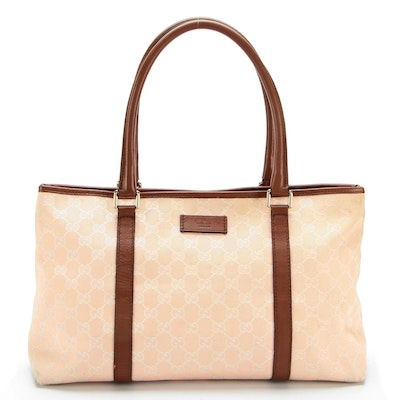 Gucci Tote in Pink GG Canvas with Brown Leather Trim