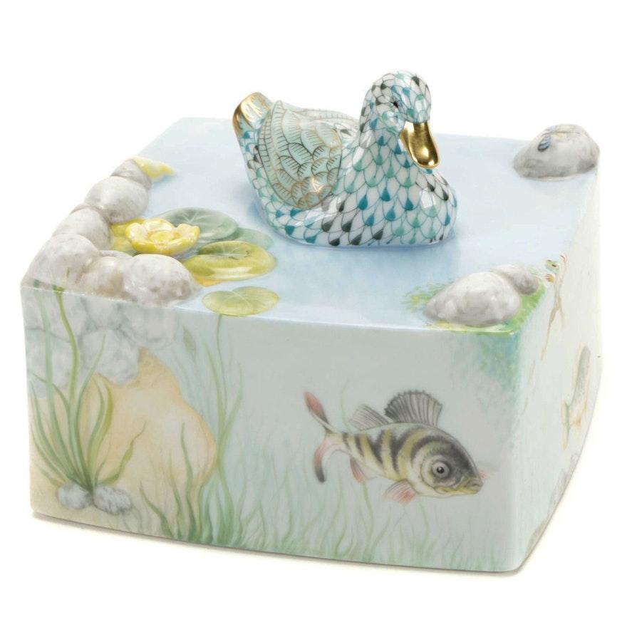 "Herend ""Pond Life"" Limited Edition Porcelain Figurine"