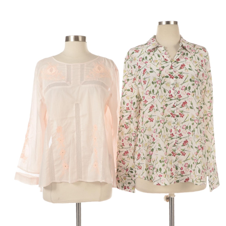 Club Monaco and J.Crew Long Sleeve Blouses with Embellished Details