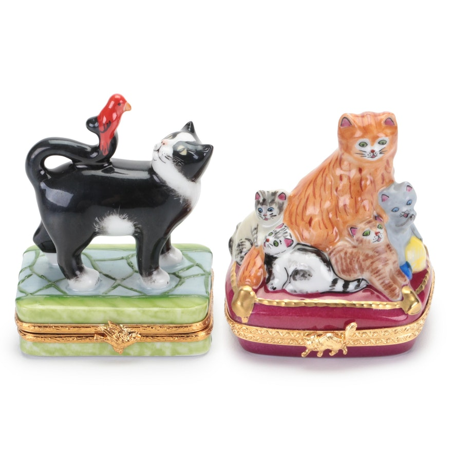 Artoria and Other Cat Form Porcelain Limoges Boxes