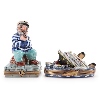 Eximious and Other Hand-Painted Sailor and Titanic Porcelain Limoges Boxes