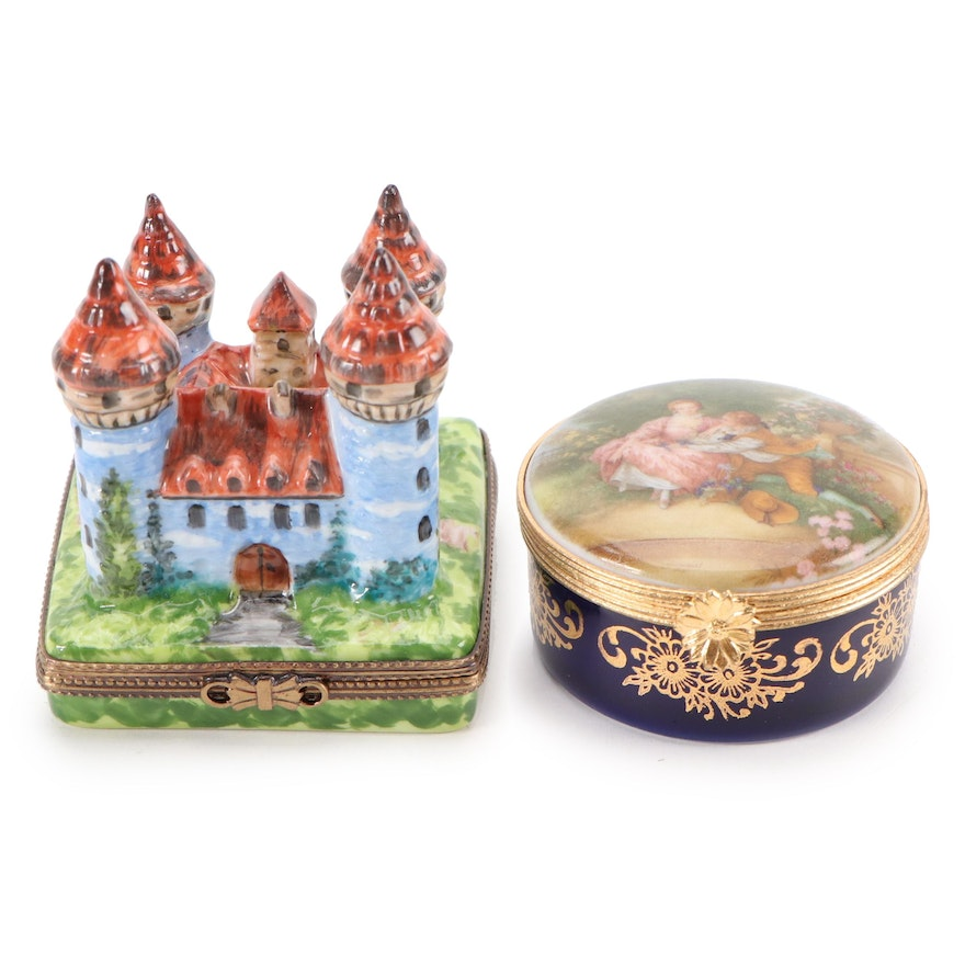 Hand-Painted Limoges Castle and Fragonard Hinged Boxes