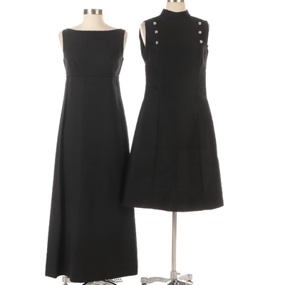 Lanz and L'Aiglon Embellished Black Occasion Dresses, circa 1960s-1970s
