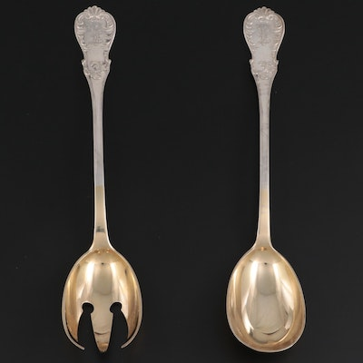 H. Meyen & Co. German 800 Silver Salad Serving Set, Early to Mid-20th Century